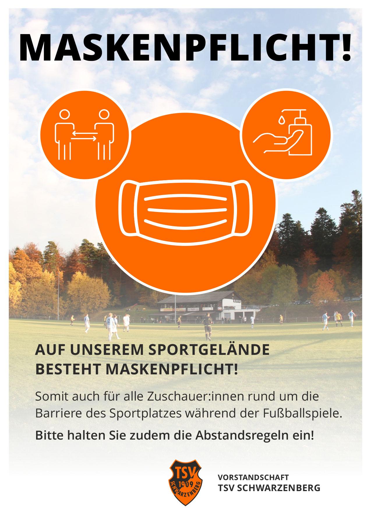 TSV-Plakat zur Maskenpflicht